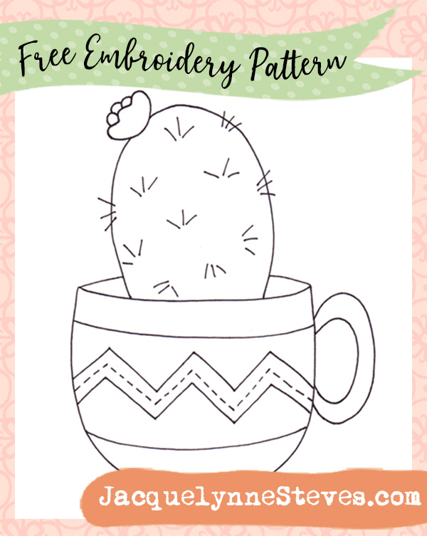 Free Embroidery Pattern- Cactus in Teacup