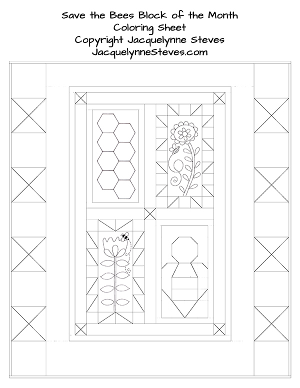 Free Coloring Sheet- Save the Bees Home Quilt ...