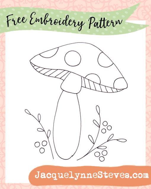 Free Mushroom Embroidery Pattern