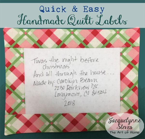 Quick & Easy Handmade Quilt Labels