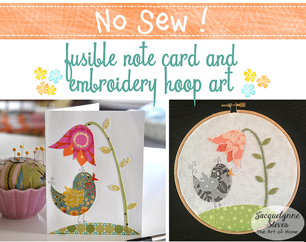 No Sew Bird Embroidery Hoop Art and Note Card