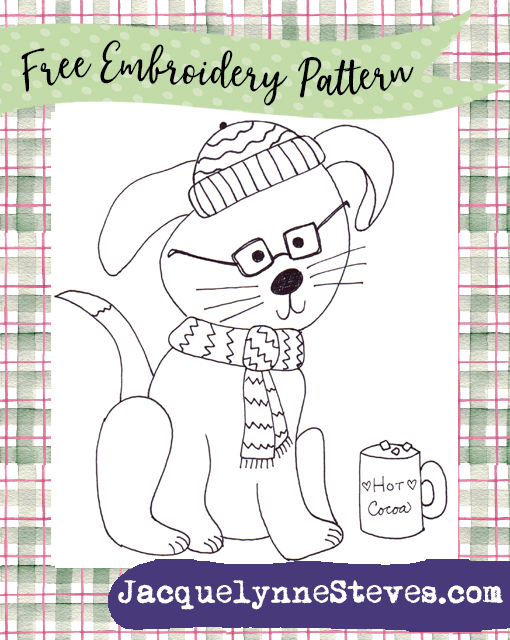 Free Embroidery Pattern- Coffee Shop Puppy!
