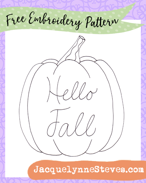 Free Embroidery Pattern- Hello Fall Pumpkin!