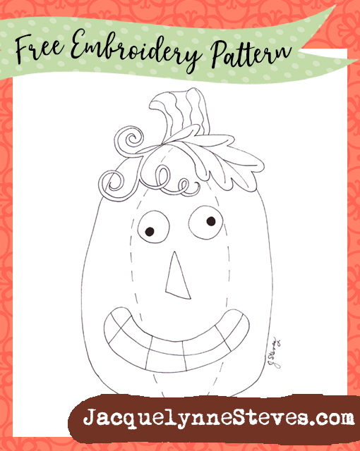 Free Embroidery Pattern- Silly Jack Pumpkin!