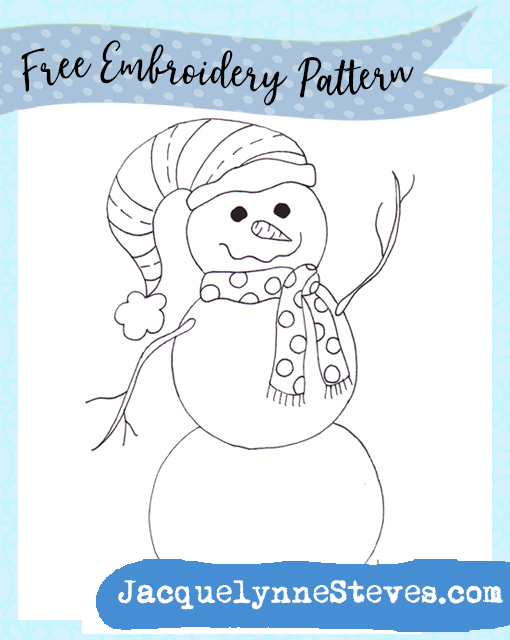 Free Embroidery Pattern- Happy Snowman!