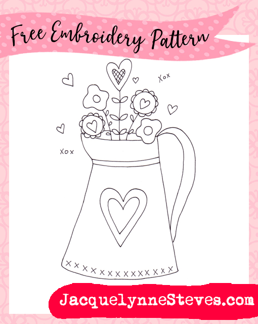 Free Embroidery Pattern- Valentine Vase!