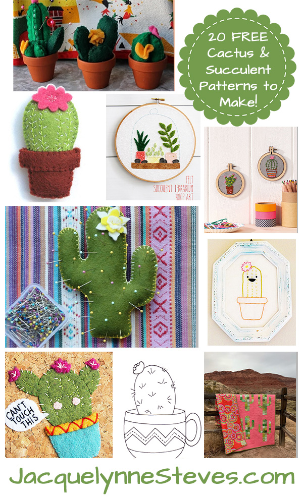 20 Free Succulent & Cactus Patterns To Embroider, Sew, Quilt & Craft