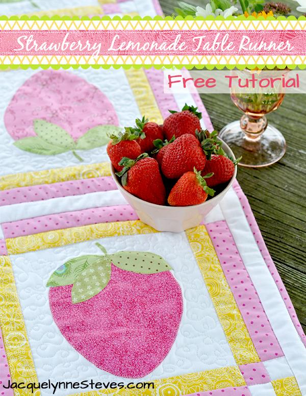 Strawberry Lemonade Table Runner Free Pattern
