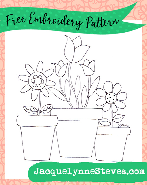 Free Potted Flowers Embroidery Pattern