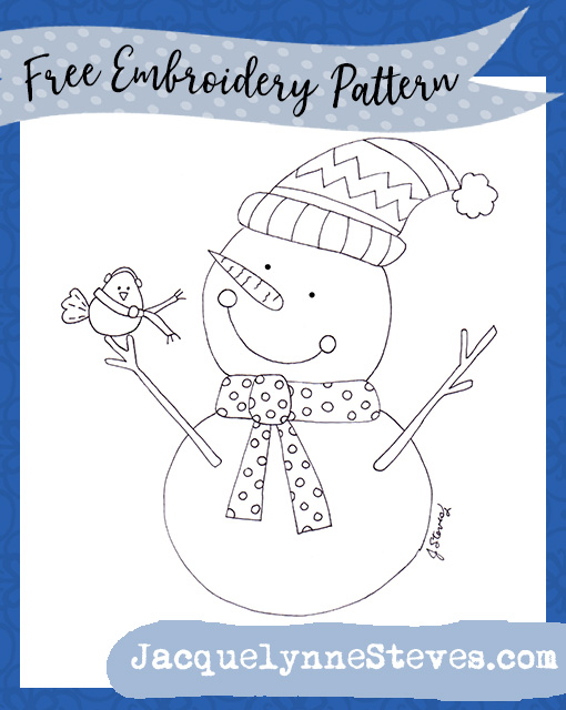 Free Snowman and Friend Embroidery Pattern