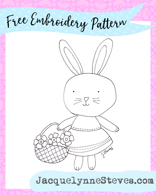 Free Spring Bunny Embroidery Pattern
