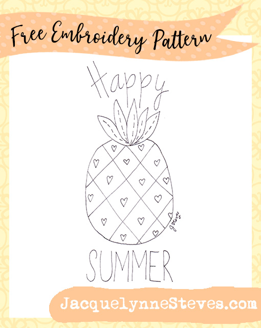 Free Summer Pineapple Embroidery Pattern