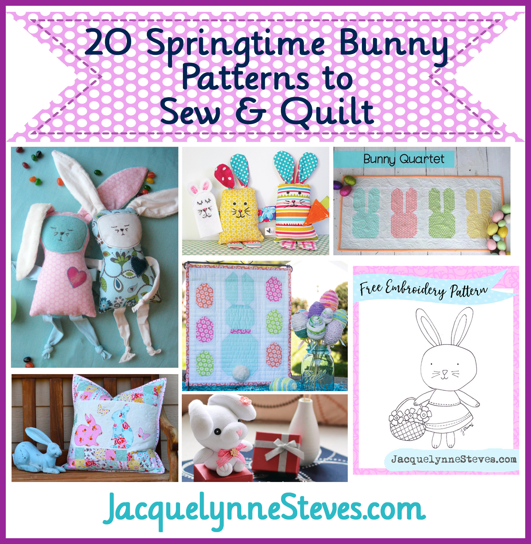 20 Free Springtime Bunny Patterns to Sew & Quilt