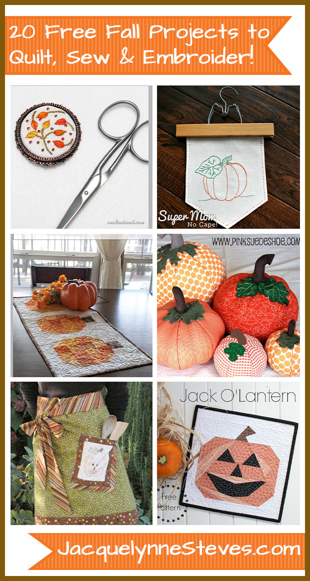 20 FREE Fall Projects To Quilt, Sew & Embroider