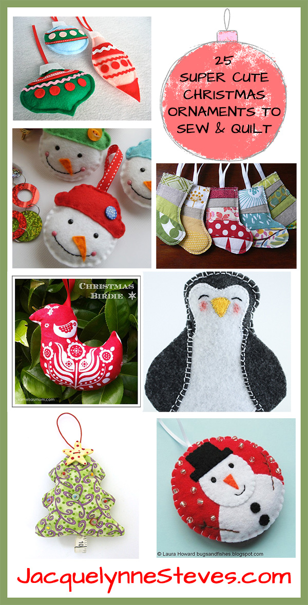 25 Free Super Cute Christmas Ornaments to Sew and Quilt