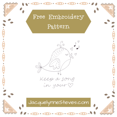 Free Song Bird Embroidery Pattern