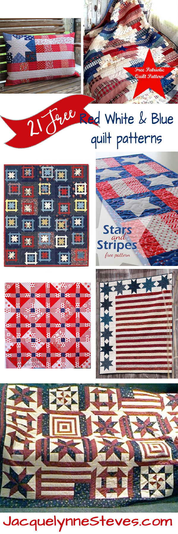 21 Free Red White And Blue Quilt Patterns Jacquelynne Steves