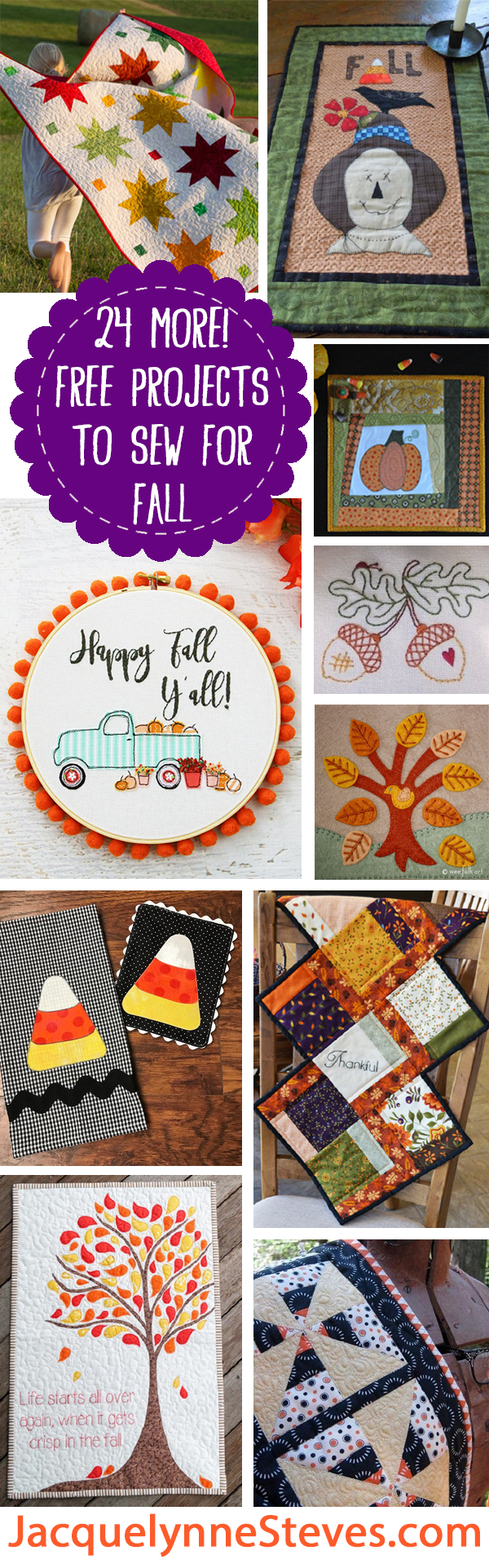 24 MORE Free Projects to sew for Fall!