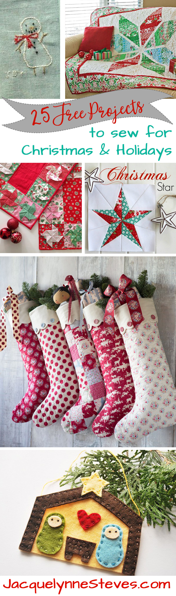 25 Free Projects to Sew for Christmas and Holidays!